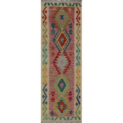 One-of-a-Kind Kratzerville Kilim Kafele Hand-Woven Wool Purple Area Rug