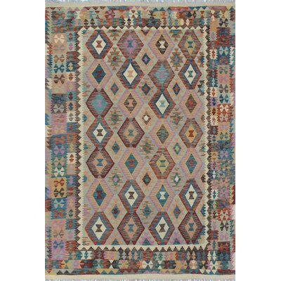 One-of-a-Kind Kratzerville Kilim Nathifa Hand-Woven Wool Gray Area Rug