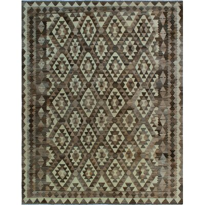 One-of-a-Kind Kratzerville Kilim Mhina Hand-Woven Wool Chocolate Area Rug