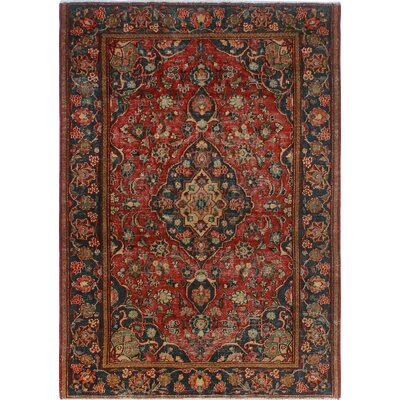 One-of-a-Kind Millay Kashan Kia Hand-Knotted Wool Red Area Rug