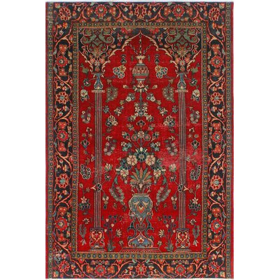 One-of-a-Kind Millay Kashan Firouz Hand-Knotted Wool Red Area Rug