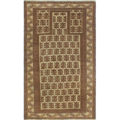 One-of-a-Kind Millet Semi Antique Danush Hand-Knotted Wool Brown Area Rug