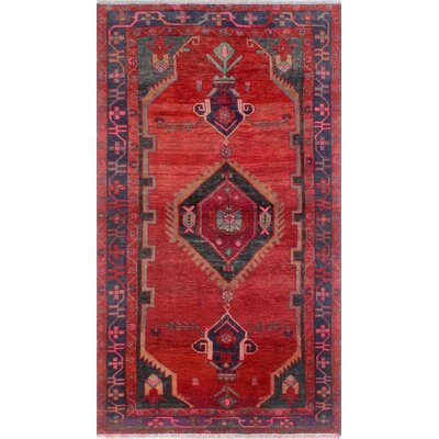 One-of-a-Kind Millet Semi Antique Jafar Hand-Knotted Wool Red Area Rug