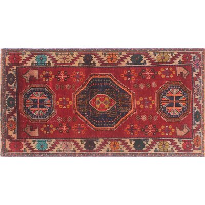 One-of-a-Kind Millet Semi Antique Farangis Hand-Knotted Wool Red Area Rug