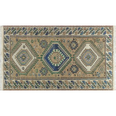 One-of-a-Kind Millet Semi Antique Rima Hand-Knotted Wool Ivory Area Rug