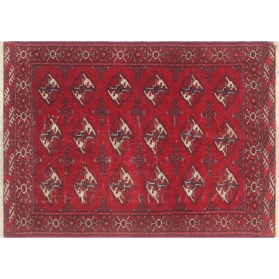 One-of-a-Kind Millet Semi Antique Turkman Peyvand Lt. Hand-Knotted Wool Blue Area Rug