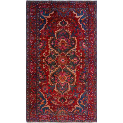 One-of-a-Kind Millet Semi Antique Heriz Pareerou Hand-Knotted Wool Red Area Rug