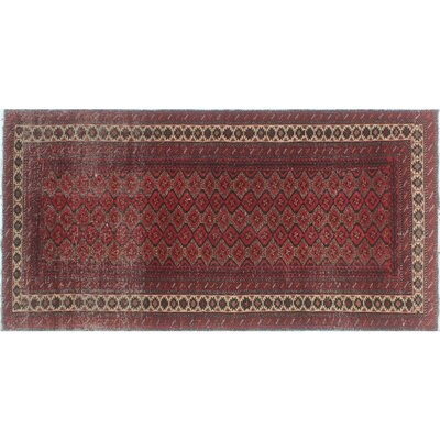 One-of-a-Kind Millet Semi Antique Turkman Nazhin Hand-Knotted Wool Red Area Rug