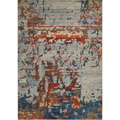 One-of-a-Kind Wobnar Oushak Gabriel Hand-Knotted Wool Blue Area Rug