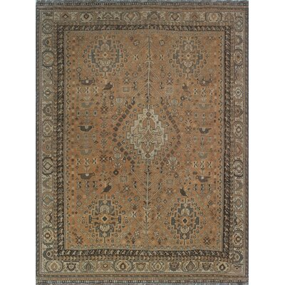 One-of-a-Kind Millet Semi Antique Anoushiravan Hand-Knotted Wool Ivory Area Rug