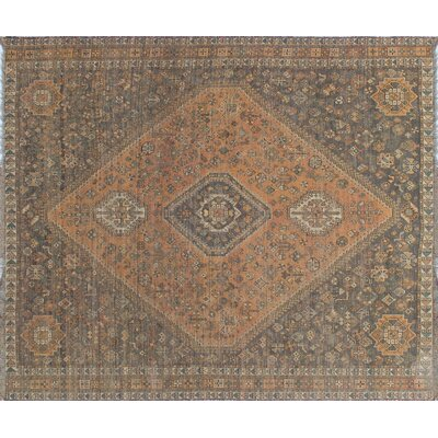 One-of-a-Kind Millet Semi Antique Farhang Hand-Knotted Wool Rust Area Rug