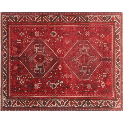 One-of-a-Kind Millet Semi Antique Ferdows Hand-Knotted Wool Red Area Rug