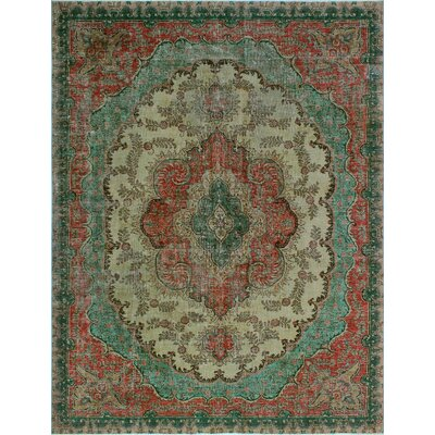 One-of-a-Kind Millikan Distressed Hand-Painted Daisy�Hand-Knotted Wool Beige Area Rug
