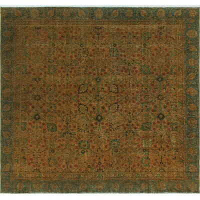 One-of-a-Kind Millikan Distressed Hand-Painted Millie�Hand-Knotted Wool Gold Area Rug