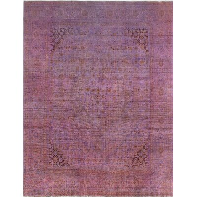 One-of-a-Kind Millikan Distressed Overdyed Eva�Hand-Knotted Wool Purple Area Rug