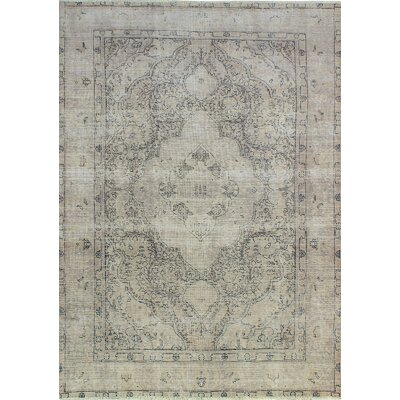 One-of-a-Kind Millikan Distressed Annie Hand-Knotted Wool Beige Area Rug