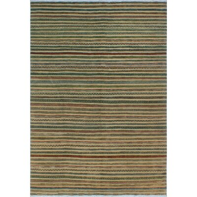 One-of-a-Kind Sempronius High-Low Fine Chobi Nancy Hand-Knotted Wool Gold Area Rug