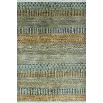 One-of-a-Kind Sempronius Fine Grass Foluke Hand-Knotted Wool Blue Area Rug
