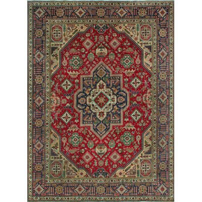 One-of-a-Kind Millikan Semi Antique Heriz Azita Hand-Knotted Wool Red Area Rug