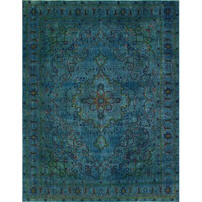 One-of-a-Kind Millikan Distressed Overdyed Justin Hand-Knotted Wool Blue Area Rug