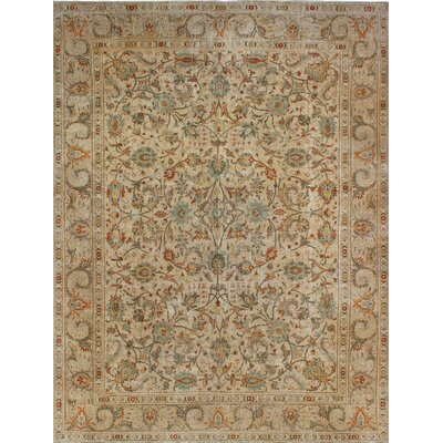 One-of-a-Kind Millikan Distressed Overdyed Lauren Hand-Knotted Wool Beige Area Rug
