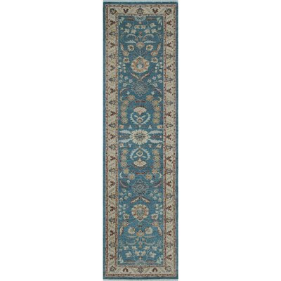 One-of-a-Kind Gorman Fine Chobi Funsani Hand-Knotted Wool Gray-Blue Area Rug