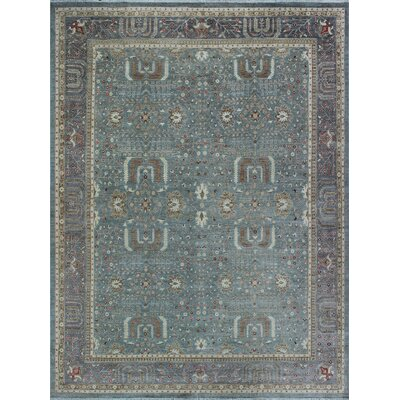 One-of-a-Kind Gorman Fine Chobi Olaniyi Hand-Knotted Wool Green/Gray Area Rug