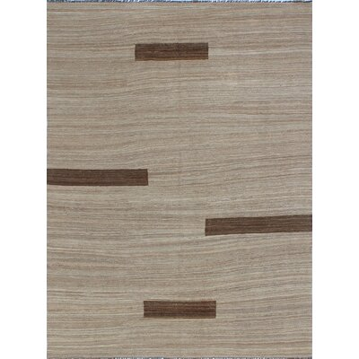 One-of-a-Kind Milliman Kilim Kufuo Hand-Woven Wool Chocolate Area Rug