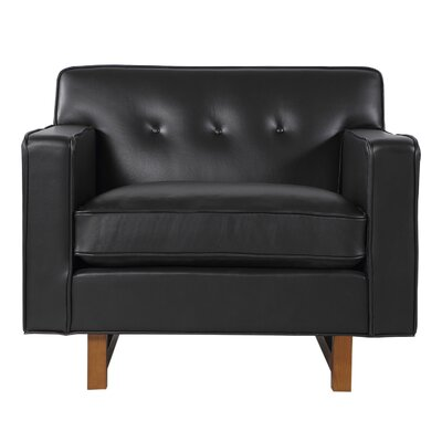 Dinger Club Chair Body Fabric: Black Aniline