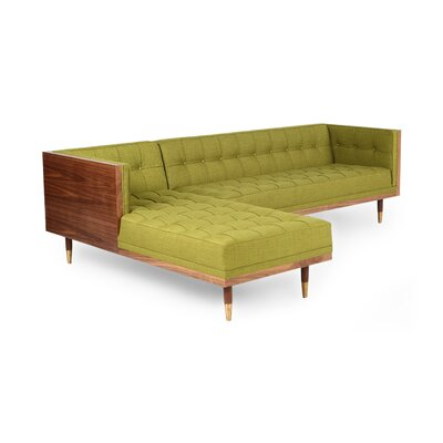 Carey Box Modular Sectional Body Fabric: Atomic Moss Twill, Sectional Orientation: Left Hand Facing