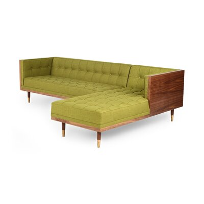 Carey Box Modular Sectional Body Fabric: Atomic Moss Twill, Sectional Orientation: Right Hand Facing