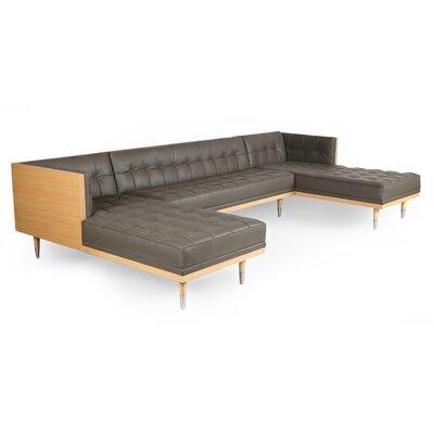 Carey Box Sofa U-Shaped Modular Sectional Body Fabric: Gray Genuine Leather, Frame Finish: Ash