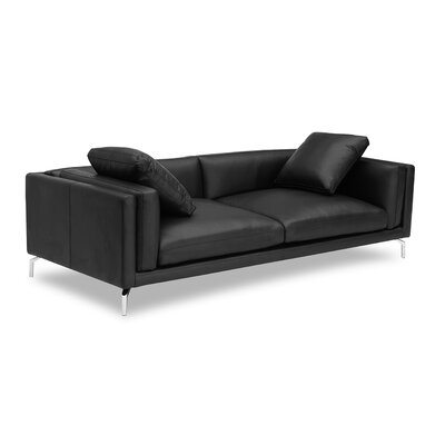 Tia Loft Leather Sofa Body Fabric: Black Aniline