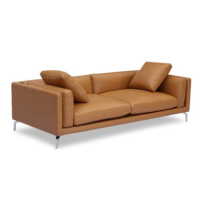 Tia Loft Leather Sofa Body Fabric: Saddle Aniline