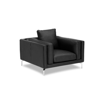 Tia Loft Armchair Body Fabric: Black Aniline