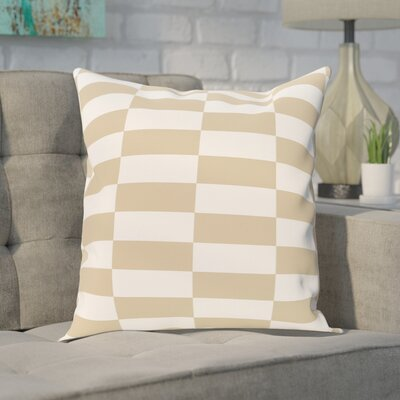 Bo�tes Stair Stepping Stripes Print Outdoor Pillow Color: Khaki, Size: 18 H x 18 W x 1 D