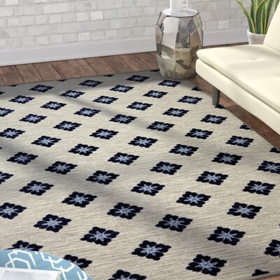 Servin Button Fleur Blue/Cream Area Rug Rug Size: Rectangle 5 x 8