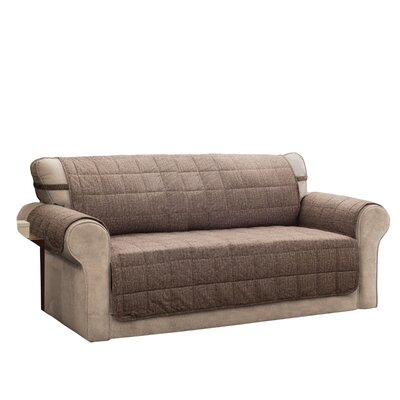 T-Cushion Sofa Slipcover Size: 0.25 H x 120 W x 75.5 D, Upholstery: Brown