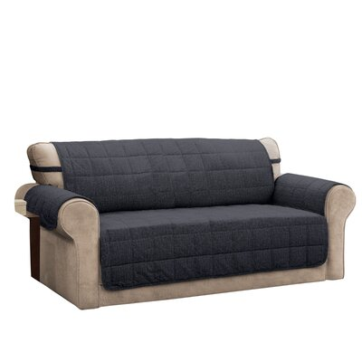 T-Cushion Sofa Slipcover Size: 0.25 H x 110 W x 75.5 D, Upholstery: Charcoal