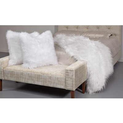 Ming 26 Faux Fur Throw Pillow Color: White
