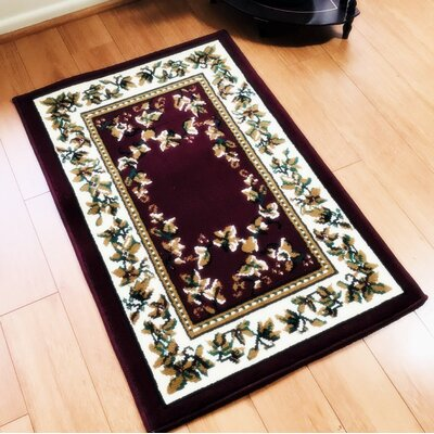 Principato Traditional Burgundy Area Rug Rug Size: Rectangle 4 x 6