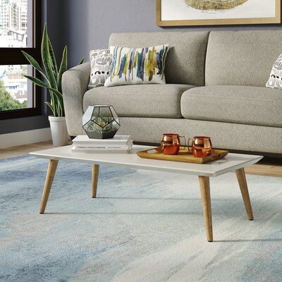 Lemington Rectangle Coffee Table with Splayed Legs Color: Off White