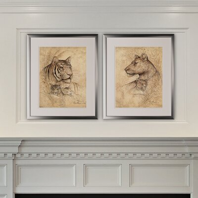 'Pair of Lions' 2 Piece Framed Graphic Art Print Set 80765B694FEF4945A6D6B4CAFB017010