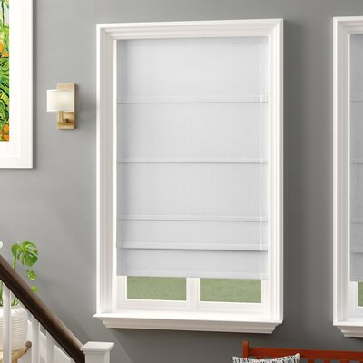 Lined Semi-Sheer Roman Shade Blind Size: 34 W x 63 L, Finish: White