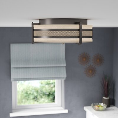 Ferriera Flush Mount Size / Finish / Shade Finish / Bulb Type: 6.5 H x 16 W / Hazel Bronze / Khaki  / Incand.
