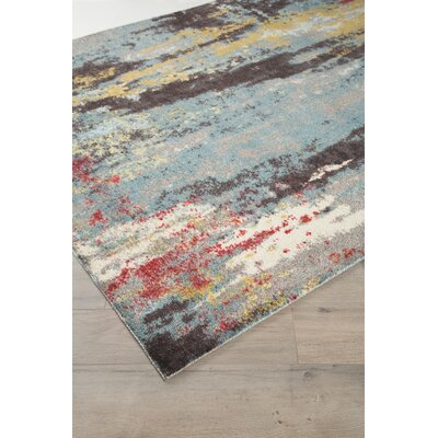 Groce Blue/Gray/Yellow Area Rug Rug Size: Rectangle 5 x 7