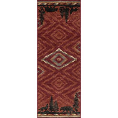 Villicana Colorblock Wildlife Novelty Lodge Red Area Rug Rug Size: Runner 3 x 8