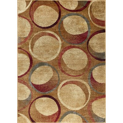 Kapp Contemporary Circles Beige Area Rug Rug Size: Rectangle 9 x 13