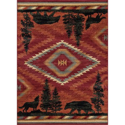 Villicana Colorblock Wildlife Novelty Lodge Red Area Rug Rug Size: Rectangle 5 x 8