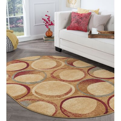 Kapp Contemporary Circles Beige Area Rug Rug Size: Oval 5 x 8
